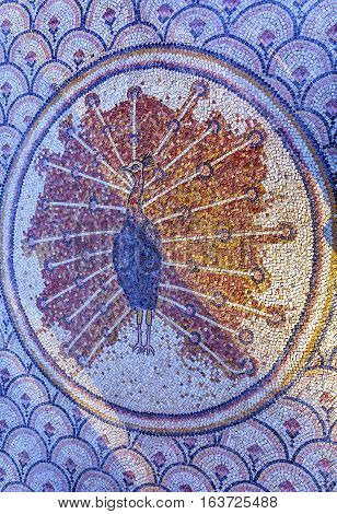 Reproduction of Peacock Octagon Mosaic Outside from Church Peter's House Sea of Galilee Capernaum Israel Octagon is symbol of place where Jesus walked. Matthew 8:14-15 Pheasant symbol of Christianity