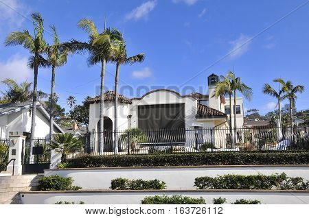 Nice mansion in San Diego, California, with blue sky