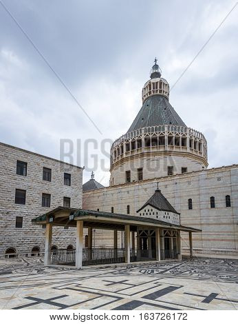 North facade of the Basilica of the Annunciation or Church of the Annunciation in Nazareth Israel