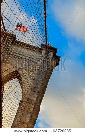 Powerful Structure Brooklyn Bridge Center Pylon On A Beautiful Summer Day
