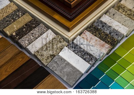 Material of renovation.  Kitchen material selection. Material color samples for interior renovation. Cabinet material selection of new home.