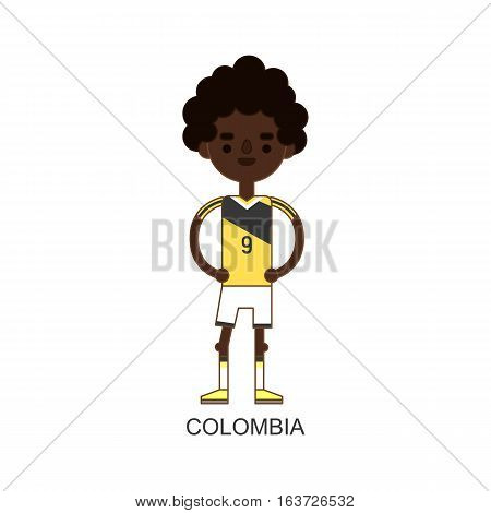 National Euro Cup colombia soccer football player activity match vector illustration. World game captain leader in uniform. Sport men isolated on white background.