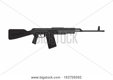 Vector assault rifle heavy weapon vector gun. Pistol submachine sniper security revolver icon. Violence firearm police ammunition illustration isolated.