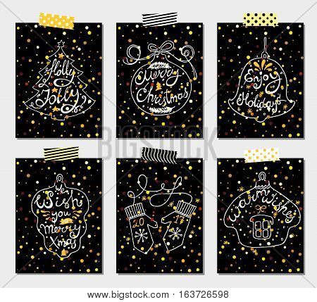 Christmas Holidays Vector Set of Hand Drawn Black Greeting Card. Happy New Year Concept Design Kit for different projects.