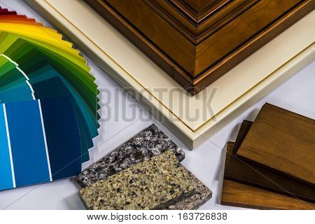 home renovation material selection, doors, cabinets, countertops and wall paint