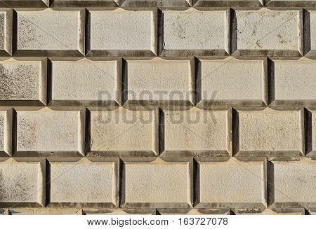 Old white square block wall as background