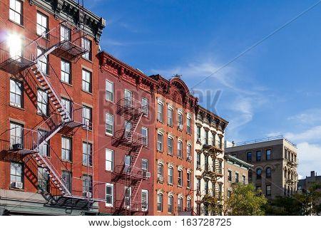 Historic Apartment Buildings along Bleecker Street in the Greenwich Village neighborhood of Manhattan New York City