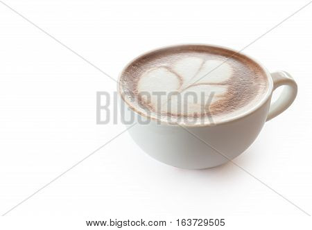 Cup of hot coffee tulip latte art on white background