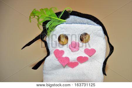 sock puppet little girl black hair brown eyes