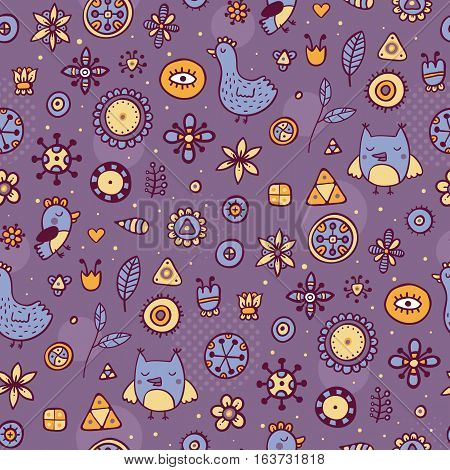 Cute Seamless Pattern With Birds And Flowers On Violet Background. Eps-10 Vector