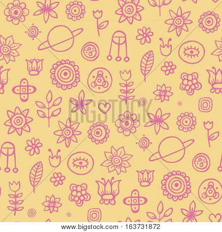 Cute Seamless Pattern With Flowers And Abstract Elements On Beige Background. Eps-10 Vector