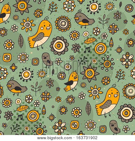 Cute Seamless Pattern With Birds And Flowers On Green Background. Eps-10 Vector