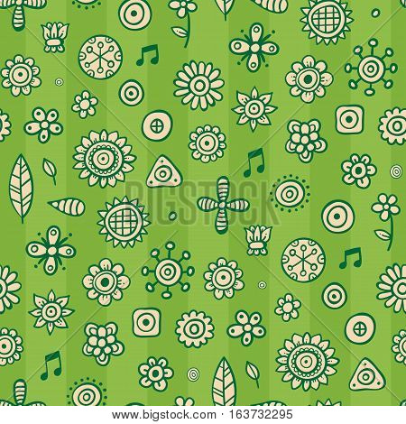 Cute Seamless Pattern With Flowers And Abstract Elements On Green Striped Background. Eps-10 Vector