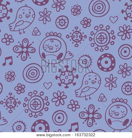 Cute Seamless Pattern With Birds And Flowers On Light Blue Background. Eps-10 Vector