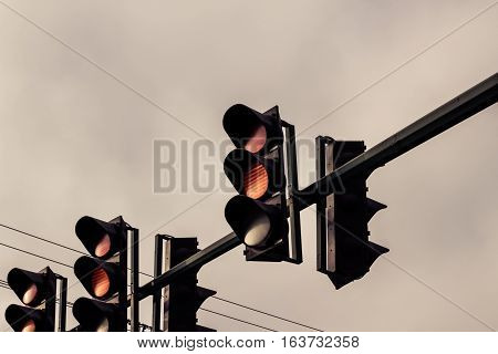 Traffic Lights And Cloudy Sky