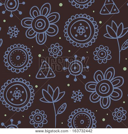 Cute Seamless Pattern With Flowers And Abstract Elements On Brown Background. Eps-10 Vector