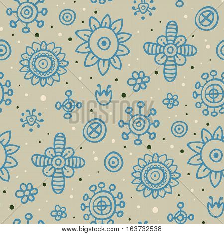 Cute Seamless Pattern With Flowers And Abstract Elements On Gray Background. Eps-10 Vector