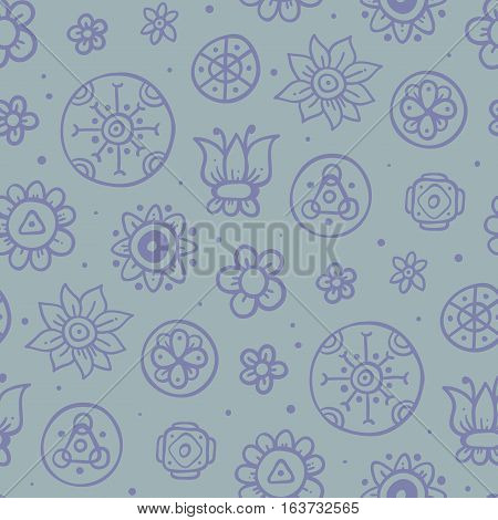 Cute Seamless Pattern With Flowers And Abstract Elements On Light Blue Background. Eps-10 Vector