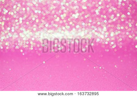 Defocused Abstract Pink Glitter With Bokeh Background