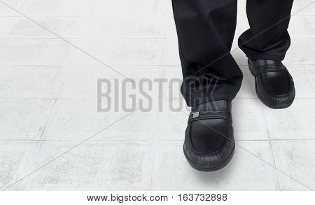 business men feet and walk come in