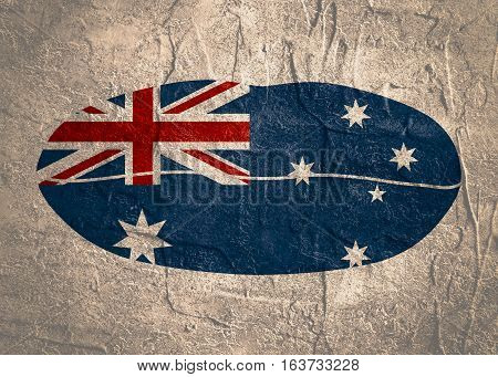 Australia flag design concept. Flag printed on woman lips. Image relative to travel and politic themes. Grunge textured backdrop