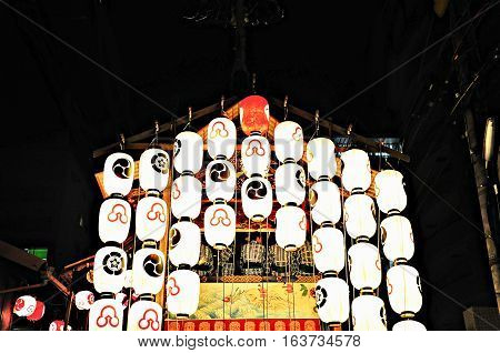 Float decorated with Lanterns in Kyoto Gion Festival Japan