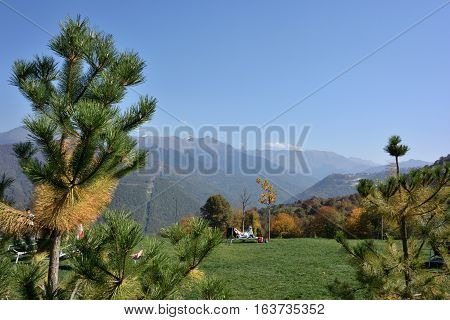 KRASNAYA POLYANA SOCHI RUSSIA 26 OCTOBER 7 2016: View of the ski resort Gorky Gorod Krasnaya Polyana Sochi Russia.