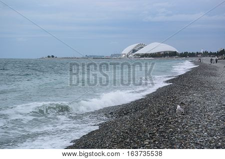 SOCHI RUSSIA OCTOBER 8 2016: View of the beach and Stadium Fischt in the Sochi Russia
