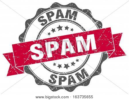 spam. stamp. sign. seal. round. retro. ribbon