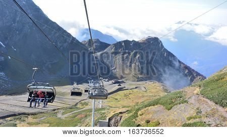 SOCHI, RUSSIA - OCTOBER 7, 2016: View of the ridge Psekhako Sochi Russia