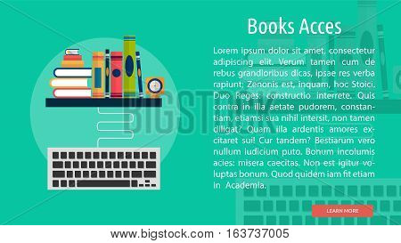 Books Acces Conceptual Banner | Great flat icons with style long shadow icon and use for teacher, education, science, analysis, knowledge, learning, event and much more.