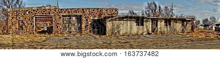 Panorama of old Building on Oklahoma Route 66