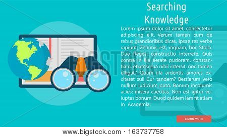 Searching Knowledge Conceptual Banner | Great flat icons with style long shadow icon and use for teacher, education, science, analysis, knowledge, learning, event and much more.