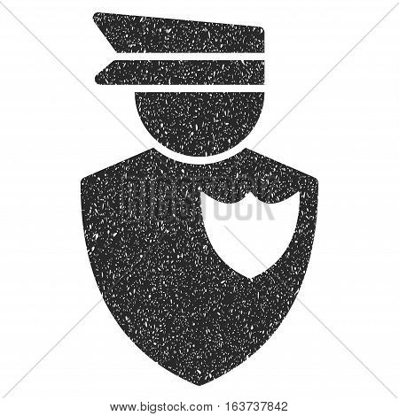 Policeman grainy textured icon for overlay watermark stamps. Flat symbol with dust texture. Dotted vector gray ink rubber seal stamp with grunge design on a white background.
