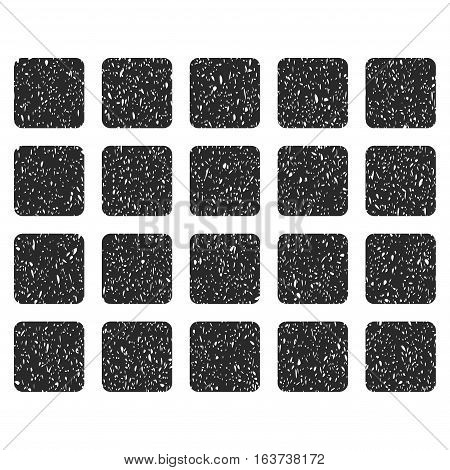 Square Grid grainy textured icon for overlay watermark stamps. Flat symbol with unclean texture. Dotted vector gray ink rubber seal stamp with grunge design on a white background.