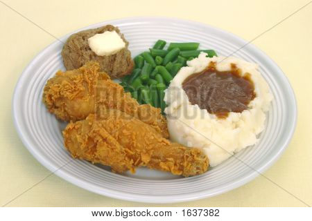 Fried Chicken And Mashed Potatoes Dinner