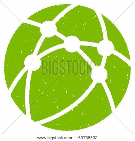 Browser grainy textured icon for overlay watermark stamps. Flat symbol with dust texture. Dotted vector light green ink rubber seal stamp with grunge design on a white background.