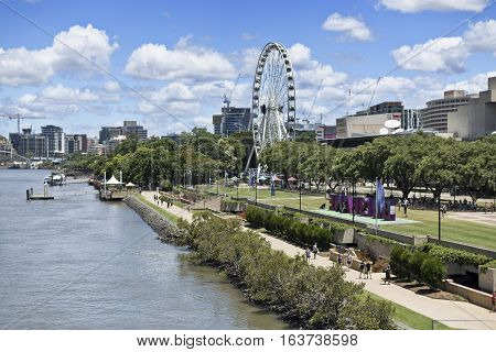 BRISBANE, AUSTRALIA - December 28, 2016: The Wheel of Brisbane is an almost 60 metres tall ferris wheel installed in South Bank Parklands Brisbane Australia.