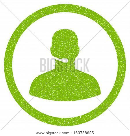 Call Center Operator grainy textured icon for overlay watermark stamps. Flat symbol with dust texture. Dotted vector light green ink rubber seal stamp with grunge design on a white background.