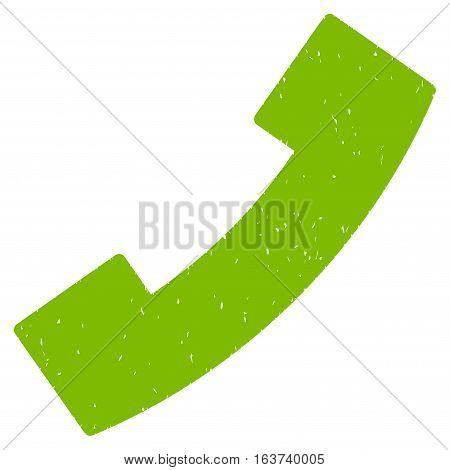 Phone Receiver grainy textured icon for overlay watermark stamps. Flat symbol with dust texture. Dotted vector light green ink rubber seal stamp with grunge design on a white background.