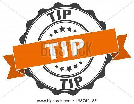 tip. stamp. sign. seal. round. retro. ribbon