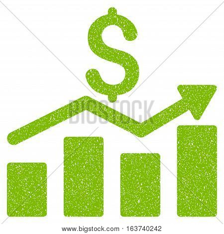 Sales Chart grainy textured icon for overlay watermark stamps. Flat symbol with unclean texture. Dotted vector light green ink rubber seal stamp with grunge design on a white background.
