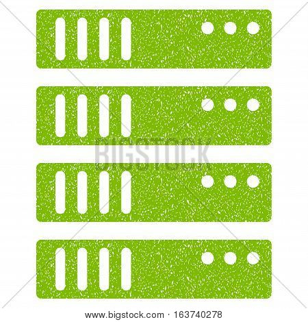 Server grainy textured icon for overlay watermark stamps. Flat symbol with unclean texture. Dotted vector light green ink rubber seal stamp with grunge design on a white background.