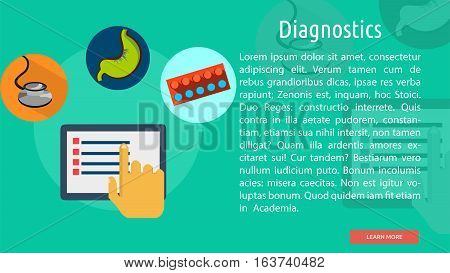 Diagnostics Conceptual Banner | Great flat icons design illustration concepts for health, medical, science, diagnostic and much more.