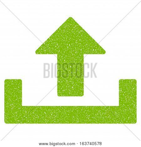 Upload grainy textured icon for overlay watermark stamps. Flat symbol with scratched texture. Dotted vector light green ink rubber seal stamp with grunge design on a white background.