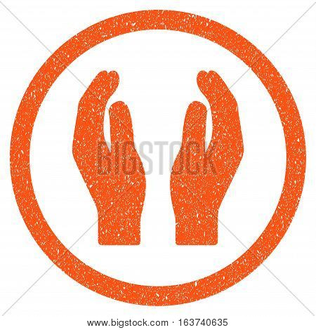 Applause Hands grainy textured icon for overlay watermark stamps. Flat symbol with dirty texture. Dotted vector orange ink rubber seal stamp with grunge design on a white background.