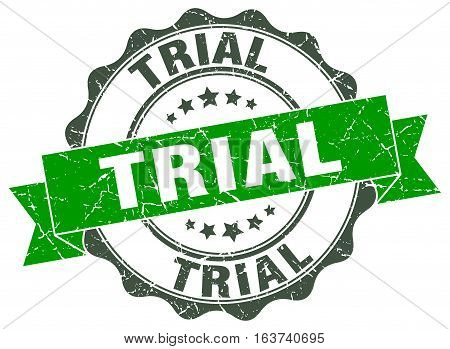 trial. stamp. sign. seal. round. retro. ribbon