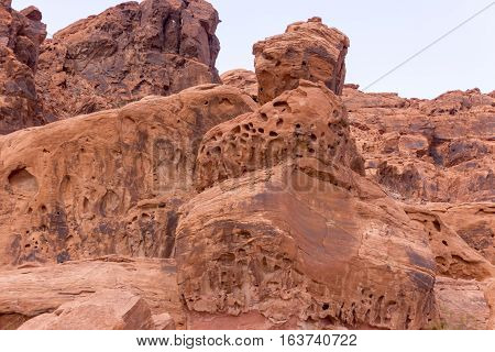 Porous rock formations in The Valley of Fire