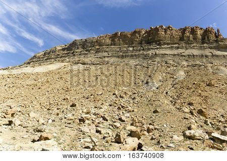 Slopes of rock from tall rock formations in Utah