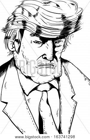 Angry Trump Cariacture Outline
